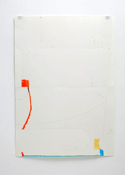 o.T., Wachskreide/Papier, 60x42 cm, 25.01.2018