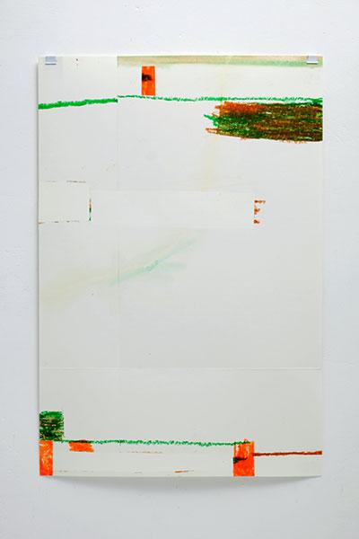 o.T., Wachskreide/Papier, 60x42 cm, 25.05.2018