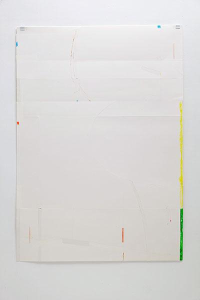 o.T., Wachskreide/Papier, 84x60 cm, 23.03.2018